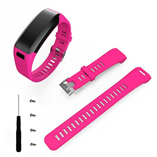 SHOBDW Garmin Vivosmart HR Armband, Mode Sport Silikon Band Strap Armband + Werkzeug für Garmin Vivosmart HR (HOT Pink, 170-220mm)
