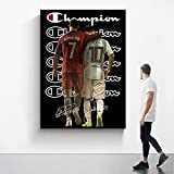HNZKly Messi Cristiano Ronaldo Lienzo Pared Arte FúTbol Jugador Estrella Poster Famosos Atleta Impresiones Moda Cuadro Graffiti Pinturas NiñOs Sala Decoracion 50x70cm Sin Marco
