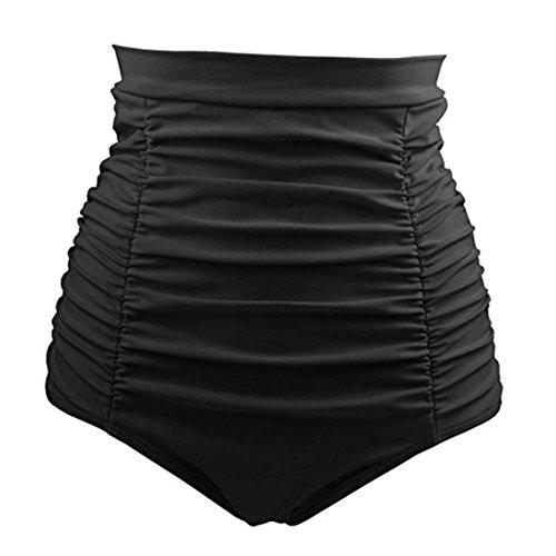 OverDose Damen Frauen Mädchen Bikini Baden Strandbadebekleidung Hohe Taille Badehose Shorts Hosen(Schwarz,L)