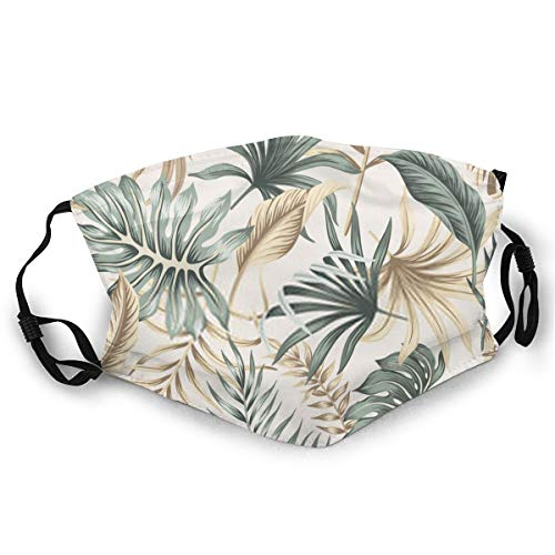 New Tropical Floral Foliage Palm Leaves Pattern Beige Exotic Jungle Wallpaper Mouth Headwear Anti-Pollution Dust-Proof Cotton