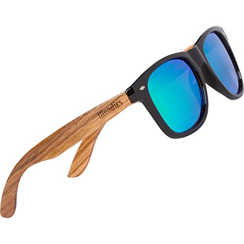 WOODIES Polarized Zebra Wood Sunglasses for Men and Women   Green Polarized Lenses and Real Wooden Frame   100% UVA/UVB Ray Protection