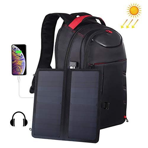 WNTHBJ USB aufladbare Solar-Rucksack, 14W Männer Schulter Stab-Boxen, Außen Reise-Computer-Beutel, 5V / 2,1A Dual USB Ladeanschluss (1 PC)