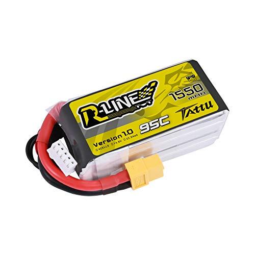 TATTU Rline Lipo Batteria Pack 1550mAh 14.8V 95C 4S for FPV Racing QUADCOPTERS Elicottero Aerei e modellini di Barche