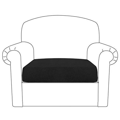 BellaHills Sofa Sitzkissenbezug Stretch Stuhl Schonbezug Spandex Elastic Couch Kissenbezüge Möbelschutz für Sofa Sitzkissen(1 Sitzer Kissen, Schwarz