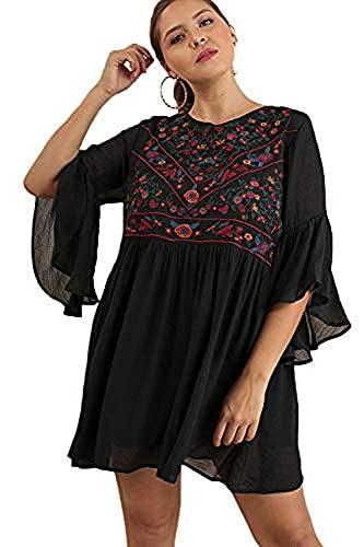 Boho Bliss! Plus Size Embroirdered Bell Sleeve Dress (X-Large, Black)
