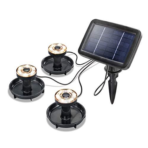 Solar Unterwasserleuchten 3er-Set - Lichtfarbe warmweiß 3000K - großes 1 Watt Solarmodul für beste Funktion - Teichbeleuchtung Solarlampe Unterwasserstrahler Gartenteich LED - IP68 - esotec 102149
