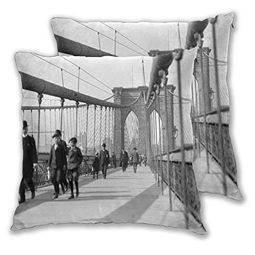 KGSPK Juego de 2 Fundas de Cojín,Peatones del Puente de Brooklyn,Decorativa Cuadrado Suave Funda de Almohada Sofá Sillas Cama Decoración para Hogar 40x40cm
