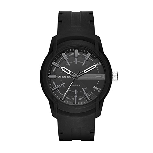 Diesel Men's 50mm Armbar Quartz Stainless Steel and Silicone Three-Hand Watch, Color: Black (Model: DZ1830)