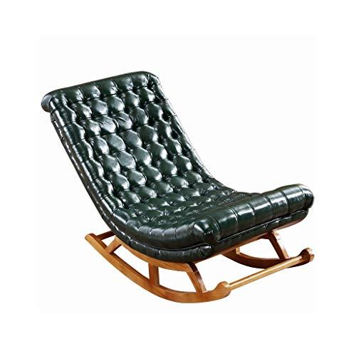 HYYTY-Y Einzelner Schaukelstuhl Aus Leder, Lazy Couch Aus Massivholz Freizeit-Terrassenliege 609-YY (Color : Green)