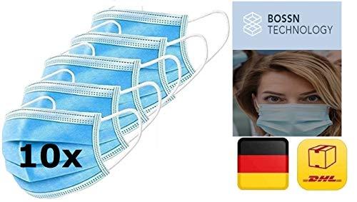 10x Mundschutz, 10er Pack, Einweg 3-lagig Gummizug Atemschutzmaske Staubschutz Maske EN14683, Hersteller BOSSN @ DECADE