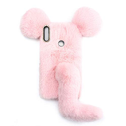 YHY Linda Funda De Teléfono con Forma De Ratón para Alcatel 1S 2021 Funda Silicona TPU Felpa Romántica Creativa De Moda Rosado