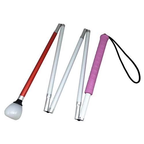 VISIONU Aluminio Baston Blanco Plegable en 5 Secciones para Ciegos y Baja Vision (Mango de Rosado, 125 cm (49.2 Pulgada)) 🔥