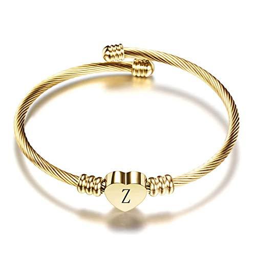 FGT Gold Initial Letter Cuff Bracelet Girls Bangle Heart Z Bracelets for Wife Mum Women Birthday Gift