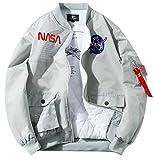 ROSEUNION Jacke Herren NASA MA-1 Militär Bomberjacke Langarm Herbst-Winter Mantel Regenjacke Windbreaker Coole Jacke Streetwear mit Reißverschluss Fliegerjacke (Grau, Large)