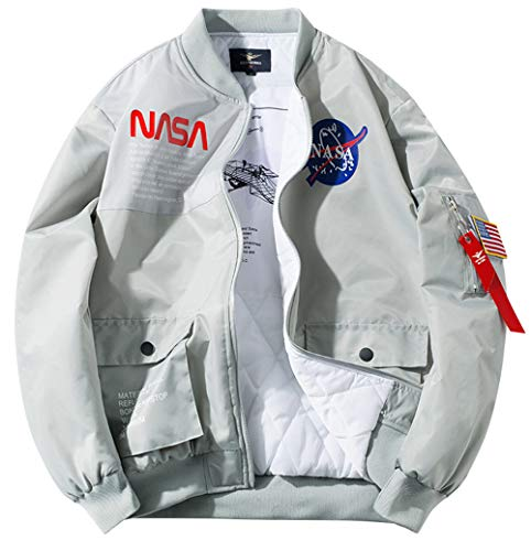 ROSEUNION Jacke Herren NASA MA-1 Militär Bomberjacke Langarm Herbst-Winter Mantel Regenjacke Windbreaker Coole Jacke Streetwear mit Reißverschluss Fliegerjacke (Grau, Medium)
