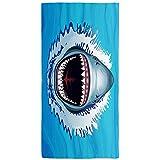 Shark Beach Towel Shark Bath Towel Men Beach Towel ,Shark Pool Towel Shark with Mouth Open for Food,Sand Free Quick Dry Microfiber Shark Beach Blanket for Boys Girls Kids Men,300GSM 30X59 in,Blue