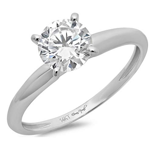 14k white Gold 0.47cttw Round Solitaire Moissanite Engagement Promise Ring Statement Anniversary Bridal Wedding, Size 6.75