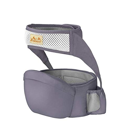 Viedouce Portabebé Ergonómico Asiento de Cadera,con Protección del Cinturón la Seguridad,Algodón Puro Ligero,Taburete de Cintura de Posición Múltiple por Bebé Niños 6-36 Meses(Gris Oscuro)