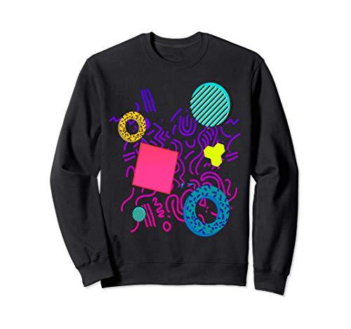 Unisex 80s Memphis Print Sweatshirt, Black or Grey, S to 2XL