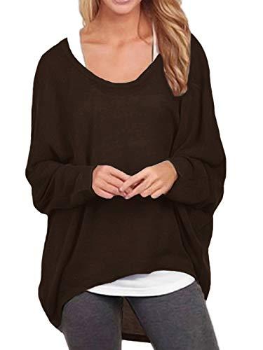 ZANZEA Damen Lose Asymmetrisch Jumper Sweatshirt Pullover Bluse Oberteile Oversize Tops Kaffee EU 42-44/Etikettgröße L