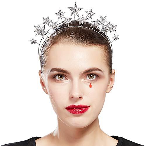 Coucoland Blinkend Stern Haarreif Damen Mary Halo Krone Gottin Star Halo Stirnband Karneval Stern Haarband Kopfschmuck Damen Fasching Kostüm Accessoires (Silber)