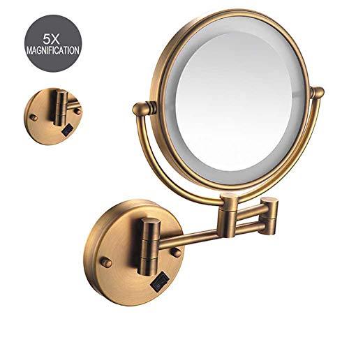 YJHH 8 Pulgadas Bronce Espejos Maquillaje Pared con Luz Espejos De Pared De 5X Aumento Espejos De Aumento para Bano con LED, Doble Cara Giratoria De 360 ° para Baño Y Maquillaje,Charging