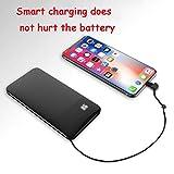 YDXW Power Batterie Externe 8000Mah, Power Bank Chargeur Portable avec Câbles De Charge Intégrée 2 Sorties Et 2 Entrées avec USB Micro Type C Entrée pour Iphone Samsung Huawei Etc,Noir
