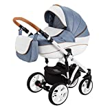 BeBe-Mobile Kinderwagen Kombikinderwagen 2in1 Kinderwagenset Babywanne Buggy Fabiola FA10 blau