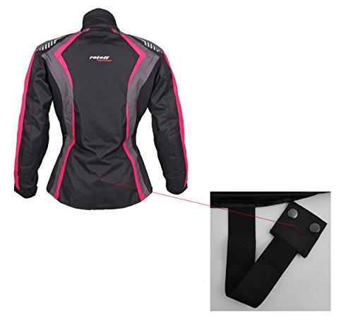 Roleff Racewear Damen Textil Motorradjacke mit Protektoren, Gute Belüftung, Taillierter Schnitt, Schwarz, Pink , Größe XXL - 9