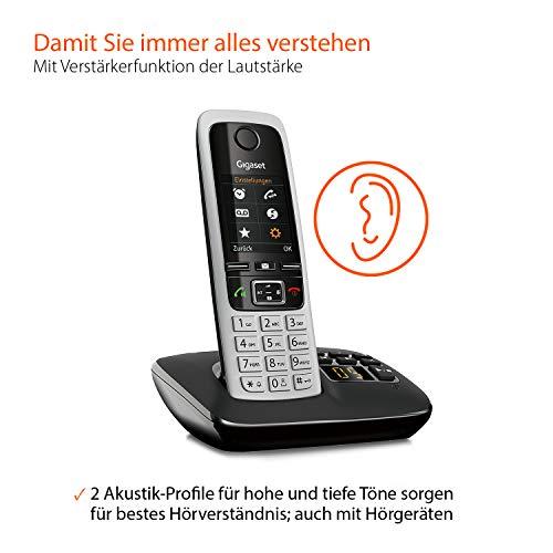 Gigaset C430A Trio Telefon – Schnurlostelefon / 3 Mobilteile – TFT-Farbdisplay / Dect-Telefon – mit Anrufbeantworter / Freisprechfunktion – Analog Telefon – Schwarz - 2