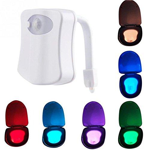 Lampe de Cuvette Toilette LED Veilleuse Détecteur de Mouvement Capteur 8 Couleurs Variable Éclairage Cuvette Abattant WC pour Enfant Famille Femme Enceinte Bébé