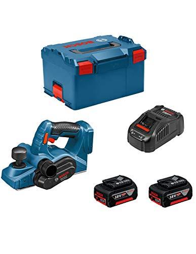 Bosch Professional 06015A0304 GHO 18 V-LI Hobel, 2 x 5,0 Ah Akku, Schnellladegerät, L-BOXX