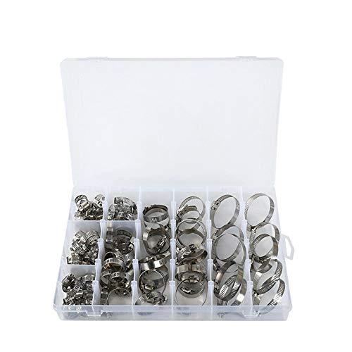 Yourenyuan 100 Stück verstellbar 8-44 mm 304 Edelstahl Schneckengetriebe Schlauchklemme Klassifizierungssatz, Schlauchklemmensatz, Schlauchklemme
