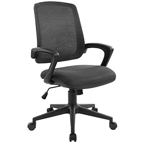 QY オフィスチェア デスクチェア メッシュ オフィス チェア パソコンチェア ワークチェア 昇降 PCチェア ロッキング コンパクト 360度回転 いす 椅子 事務椅子 学習椅子 キャスター付 おしゃれ (ブラック)