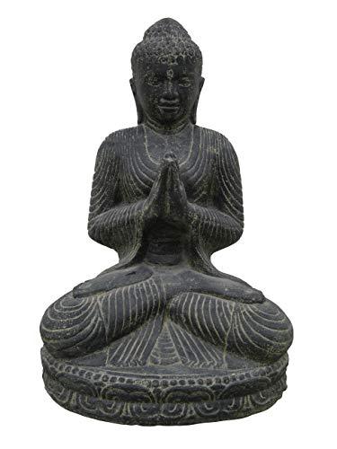 Salutation du Bouddha, assis, 45 cm, figurine en pierre, coulé en pierre, résistant au gel