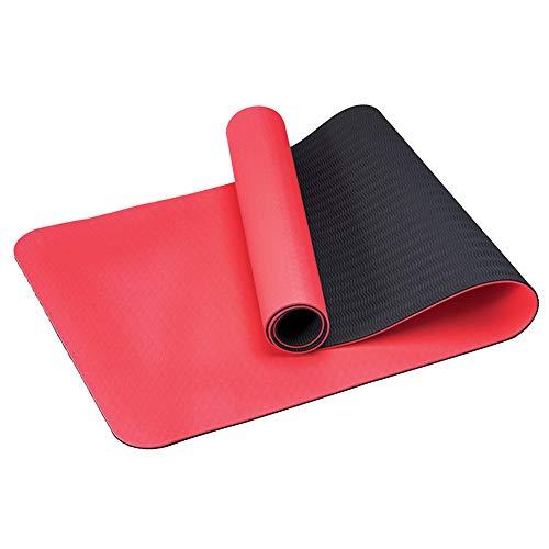 RIsxfh122 Esterilla de yoga antideslizante de TPE de 6 mm espesar en casa gimnasio entrenamiento fitness ejercicio fitness Mat cojín alfombra roja
