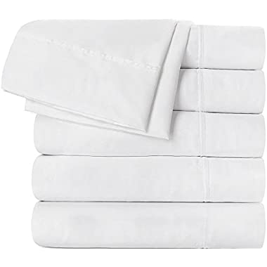 Utopia Bedding Flat Sheet 6 Pack (Queen, White) Brushed Microfiber - Soft, Breathable, Iron Easy, Wrinkle, Fade and Stain Resistant - Hotel Quality