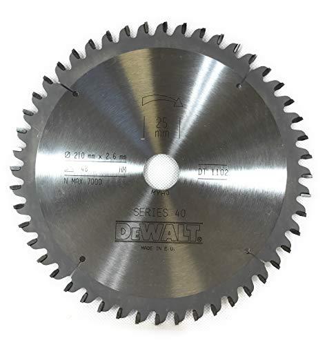 DeWalt DT1102-QZ Series 40 - Hoja de sierra (210 x 2,6 x 25 mm, 48 mm de diámetro x 48 mm NEG 5 ATB)