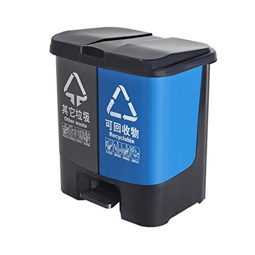 Papelera clasificada de superficie lisa, 40L/60L de doble barril de basura puede pedal con tapa, cubo de basura de cocina creativa, diseño higiénico reciclable, plástico, gris, (60L) UK