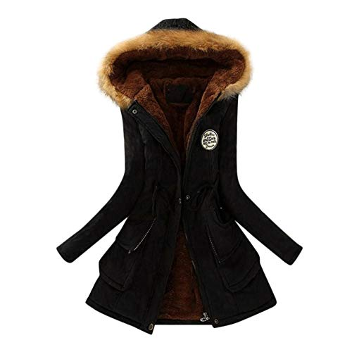 Damen Winterjacke Lang Elegant, Mantel mit Kapuze Damen, Hoodie Warme Mantel Unplattbar Damen Mantel Lang Winter Parka Plüsch Gefütterte (Schwarz, L)