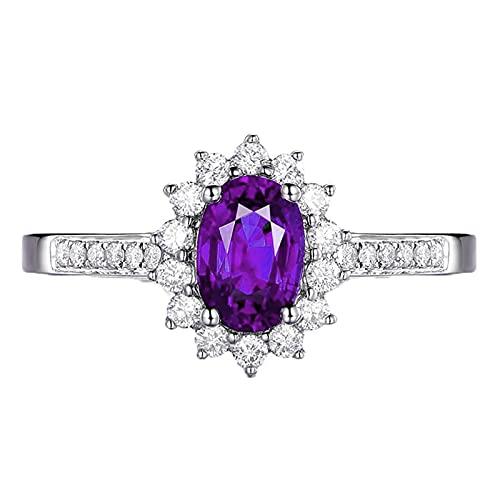 KnSam Anillo de mujer, alianzas con piedra de plata 925, diseño de flor, anillo de plata de ley con circonitas, color azul, plateado, Cubic Zirconia,