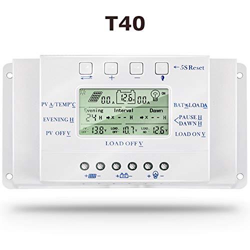 SolaMr 40A Regulador de Carga Solar 12V/24V Identificación Automática Voltaje Panel Solar Regulador de Inteligencia con Pantalla LCD y Puerto USB - T40