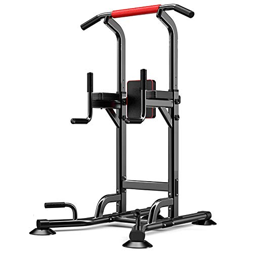 HIOD Einstellbare Power Tower Dip Station Multifunktionale Klimmzugstange für Das Heim-Fitnessstudio Push-up Bauchmuskeltraining Übung Bodybuilding