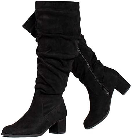 RF ROOM OF FASHION Women's Wide Calf Block Heel Slouchy Knee High Dress Boots