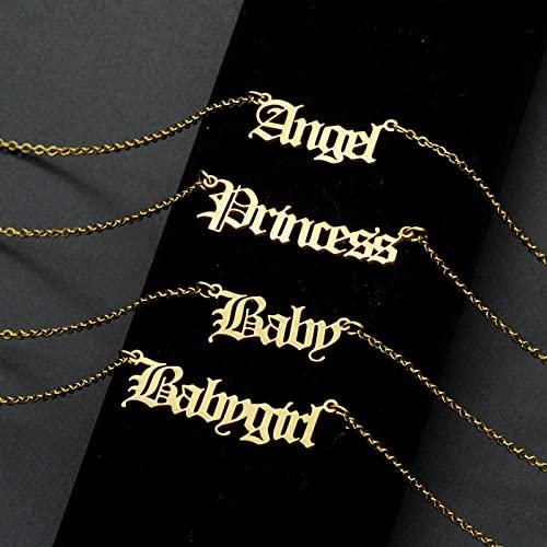CXWK Moda gótica Inicial Alfabeto joyería ángel Letra Collar Acero Inoxidable Chica Mujeres Zodiaco Collares