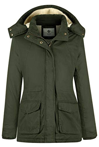 WenVen Women's Windbreaker Hooded Winter Parka Jacket (Army Green,Medium)