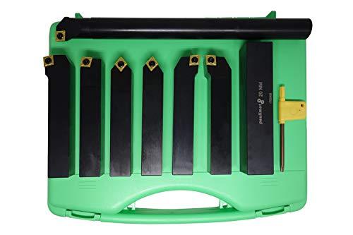 PAULIMOT Drehmeißel-Set mit Wendeplatten, 20 mm, 7-teilig inkl. Bohrstange