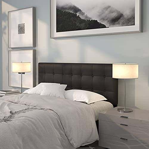 Flash Furniture Lennox Tufted Upholstered Queen Size Headboard in Black Vinyl