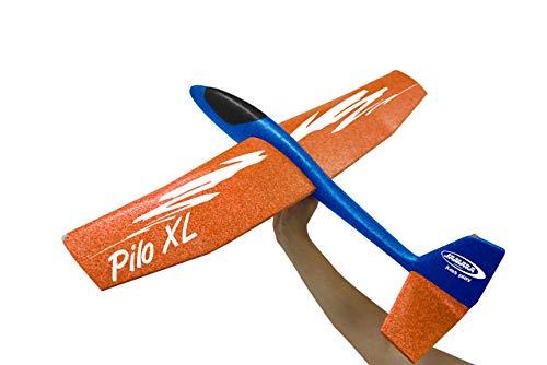Jamara 460486 Schaumwurfgleiter 2in1-Pilo XL-Super leicht (160g), Fast unzerstörbar, Höhenleitwerks für Looping oder Gleitflug umstecken, 86cm Spannweite, Blau