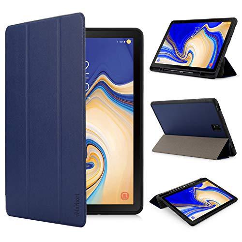 iHarbort Hülle für Samsung Galaxy Tab S4 10.5 Zoll (2018 Version) SM-T830 T835, PU-Leder Ständer Tasche Etui Schutzhülle Halter mit Stiftschlitz, 3-Fach, Auto Wake/Sleep Funktion (Dunkelblau)